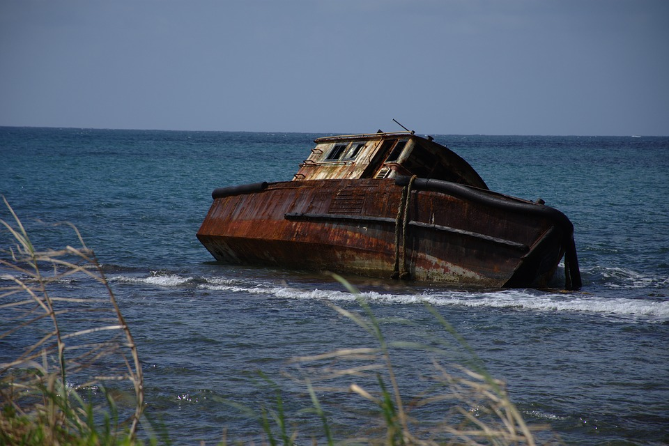Boat, Sunk, Shipwreck, Sea, Abandoned, Rusty, Sunken