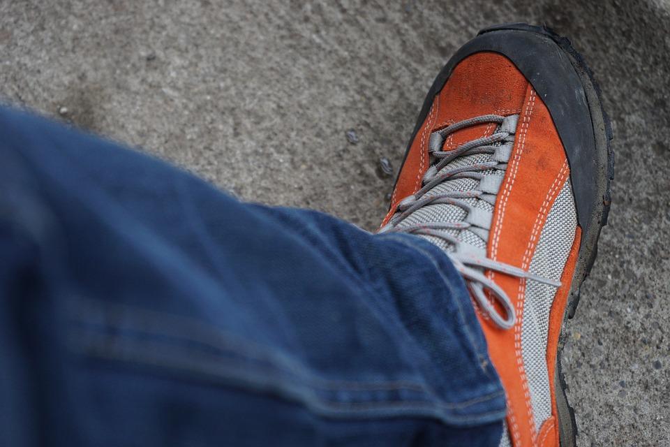 Shoe, Hiking Shoes, Clothing, Pants, Jeans, Blue