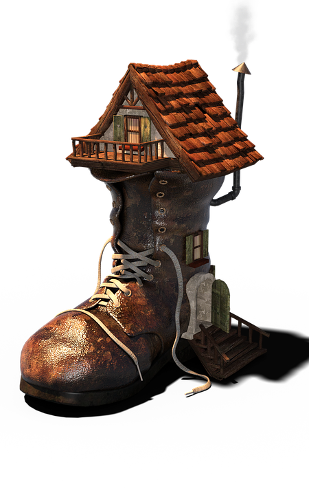 Boots, Shoe, House, Fantasy, Transparent, Cute, Hut