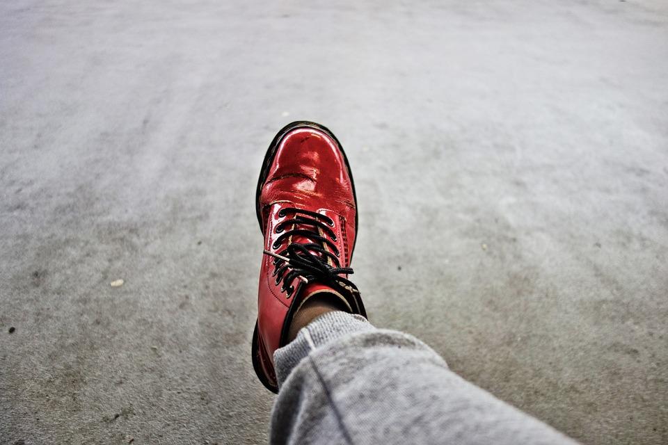 Foot, Leg, Shoe, Woman's Shoe, Doctor Martens, Red Shoe