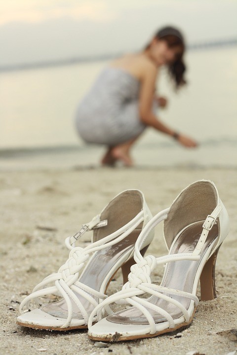 Heels, Beach, Woman, Summer, Sand, Happiness, Shoes