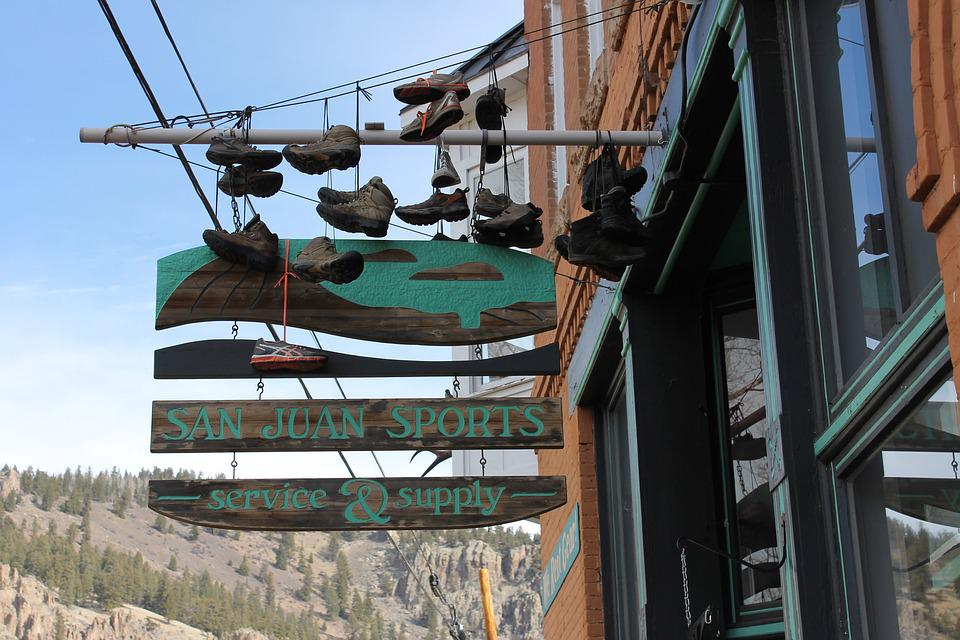 Sign, Shoes, Colorado, Business, Odd