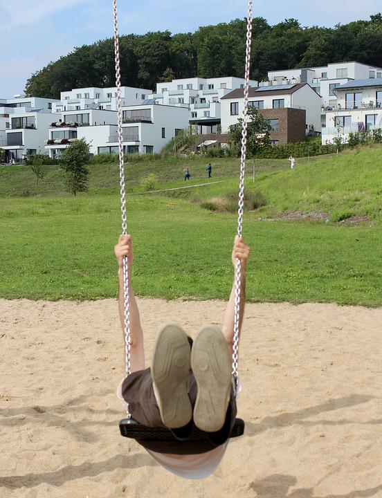 Rock, Playground, Shoes, Swing Device, Play