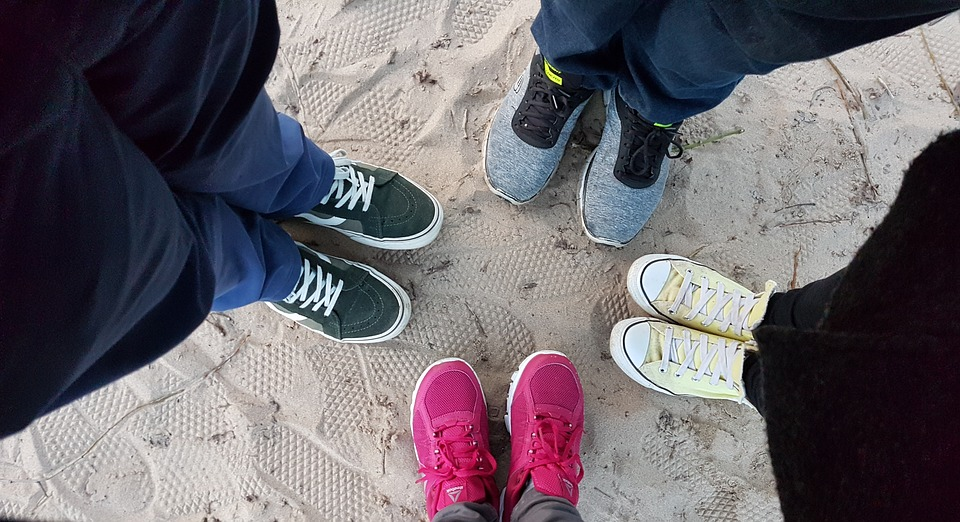 Shoes, Sneakers, Stand In A Circle, Together, Close