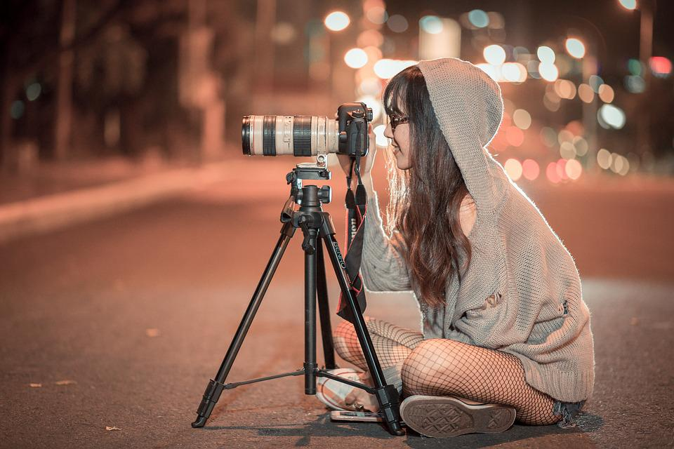 Night, Camera, Photographer, Canon, Shooting, Girl