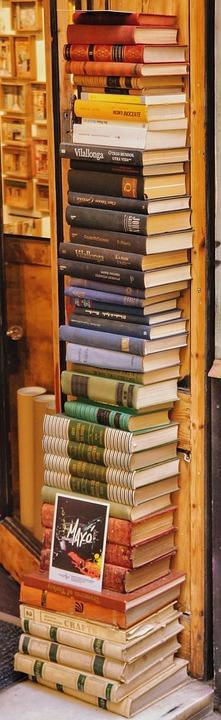 Books, Stack, Outside, Shop, Spain