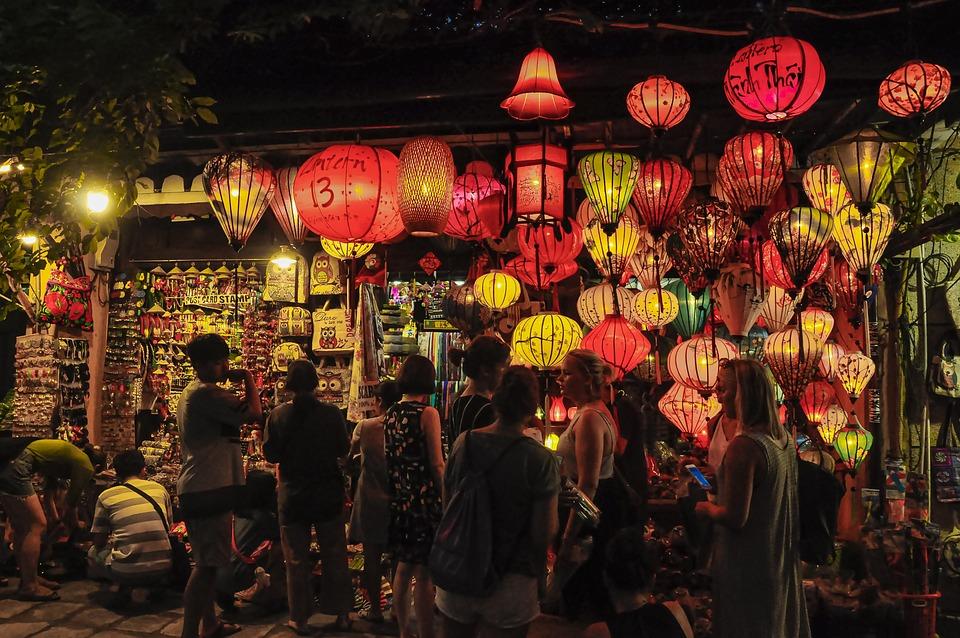 Hoi An, Vietnam, Lanterns, Store, Shop, Tourists