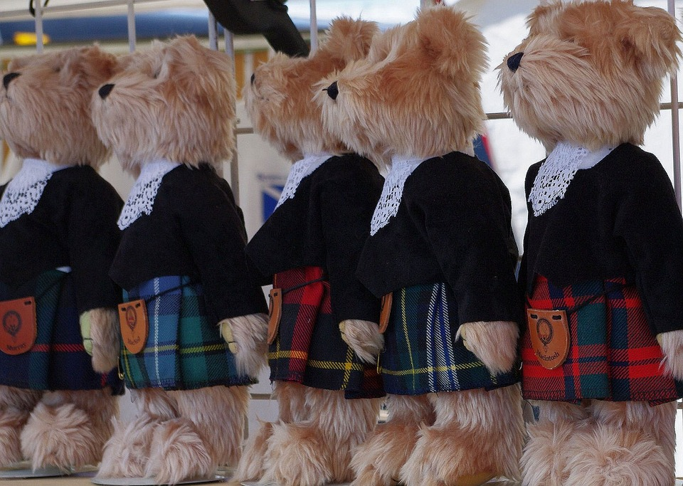 Teddy Bears, Kilt, Shop Window, Ontario, Canada