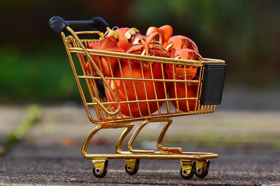 Christmas Shopping, Shopping Cart, Christbaumkugeln