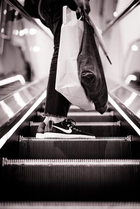 Escalator, Shopping, Mall, People, Shoe, Footwear