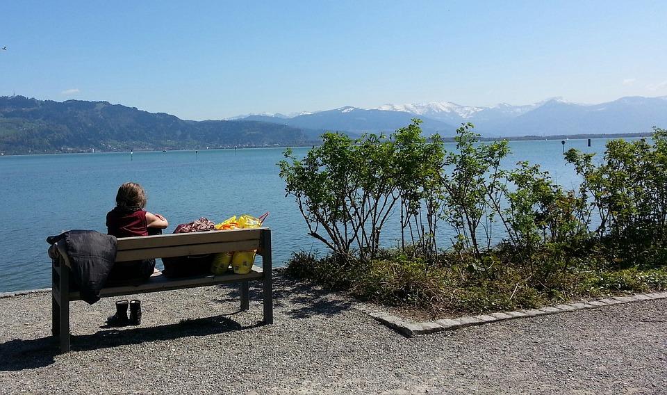 Lake Constance, Lindau, Woman, Bank, Shopping, Water