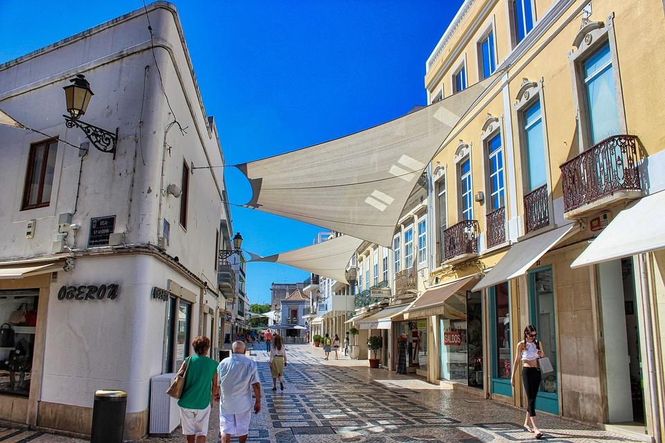 Faro, Portugal, Shopping, High Street, Shops, Summer