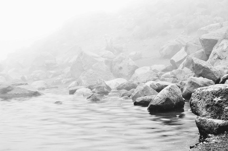 Rocks, Shore, Fog, Mist, Sea, Coast, Tranquil, Calm