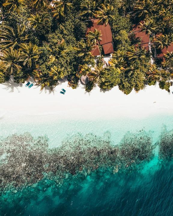 Beach, Island, Sea, Coast, Shore, Seashore, Aerial View