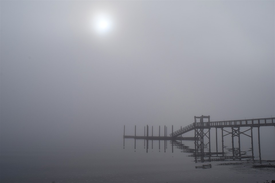 Fog, Morning, Bridge, Water, Reflection, Shore, Dock