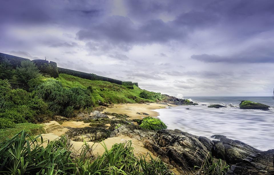 Kerala, Coastline, Sea, Shore, Fort, Kasargod, Green