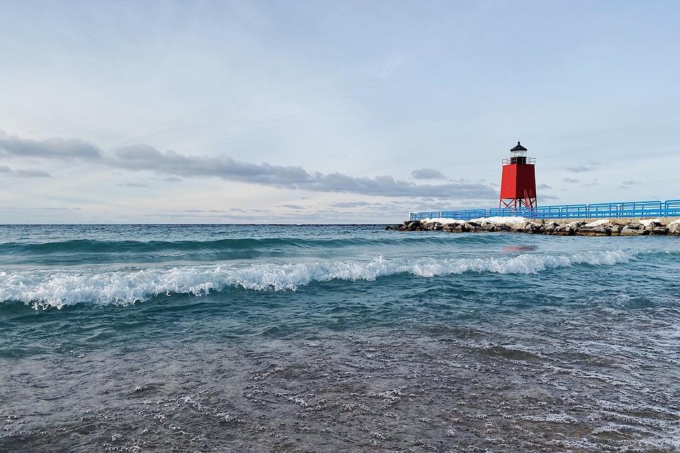 Lighthouse, Shore, Great Lakes, Lake Michigan