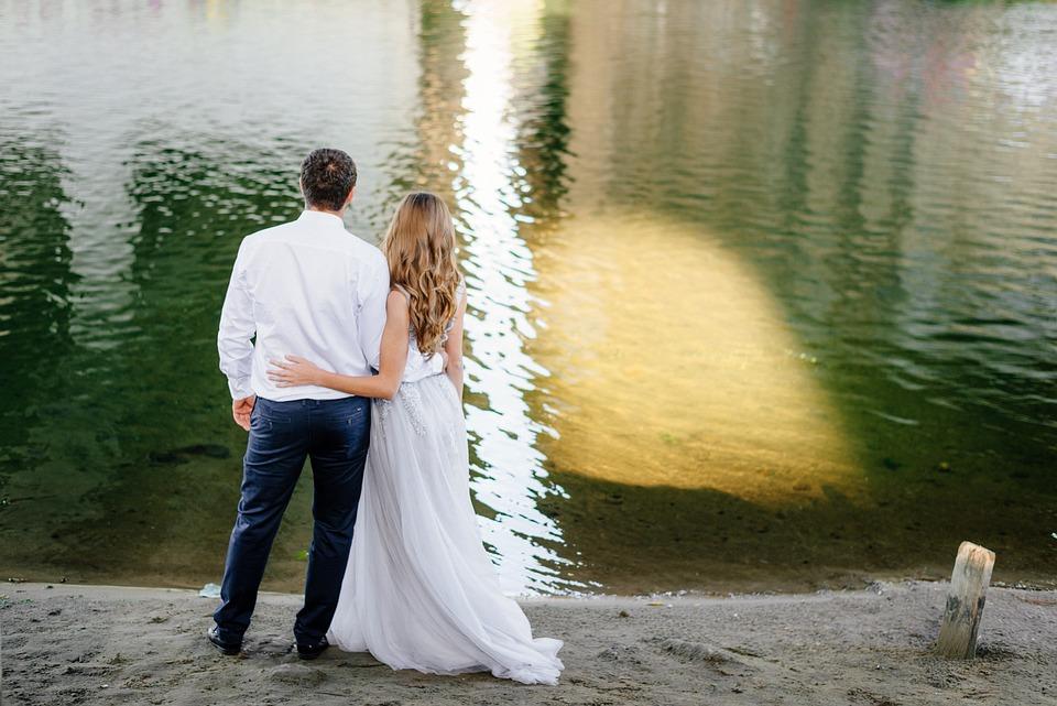 Water, People, Hugs, Bride, River, Lake, Shore, Beach