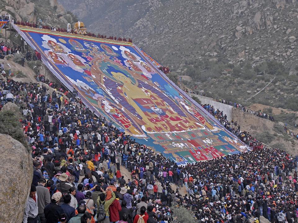 Monastery, Drepung, Lhasa, Tibet, Shoton, Thangka