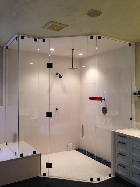 Shower, Heavy, Glass, Interior, Design, Brown Shower