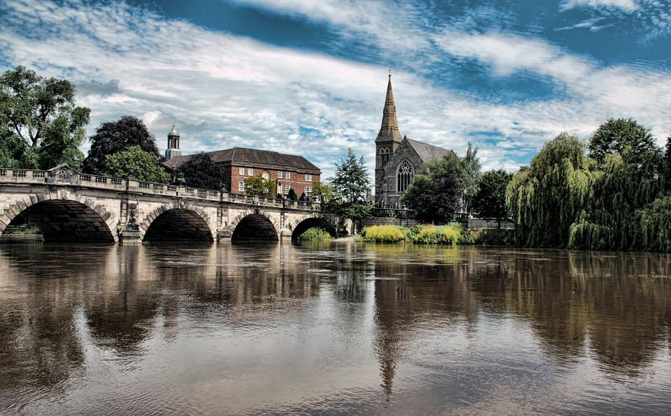 Shrewsbury, English Bridge, Bridge, Shropshire, England
