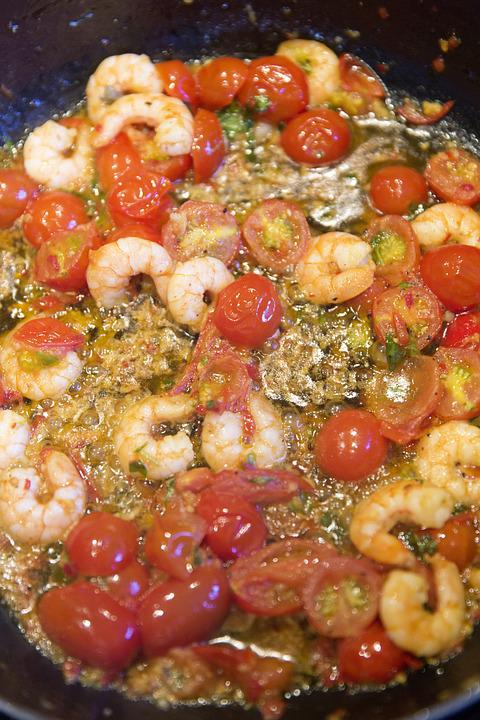 Pasta, Noodles, Tomatoes, Shrimp, Scampi, Supplement