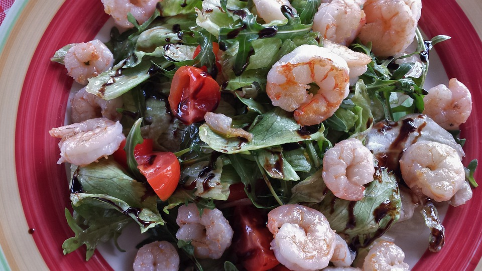 Salad, Leaf Lettuce, Tomato, Cucumber, Arugula, Shrimp