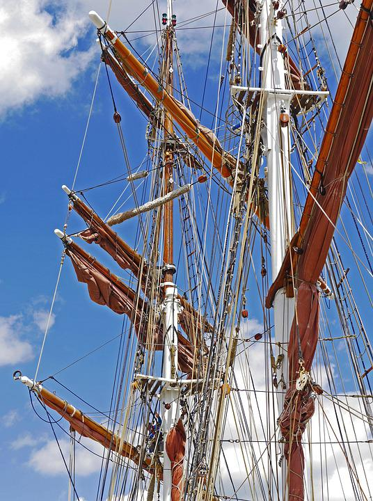 Tall Ship, Rigging, Mast, Cross-bars, Shrouds