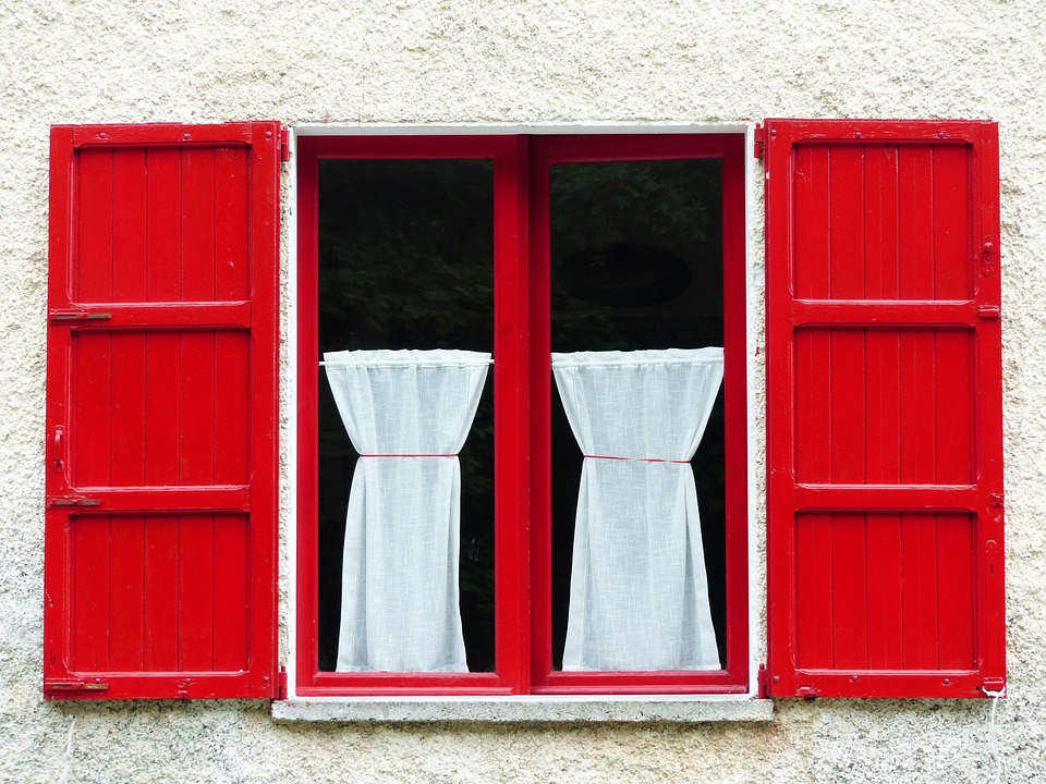 Window, Shutter, Red, Wood, Curtain, Home