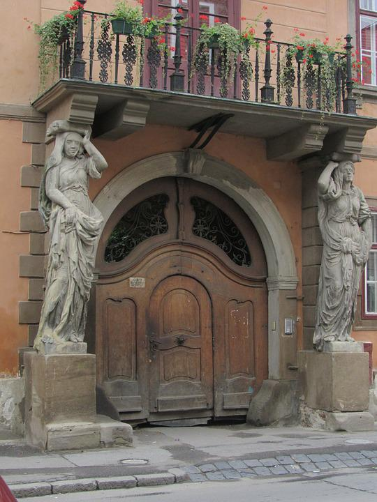 Sibiu, Transylvania, House With Caryatids, Romania