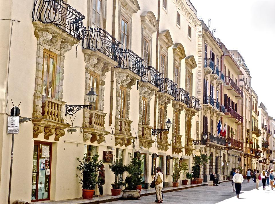 Urban, Buildings, Trapani, Sicily, Street, Stone