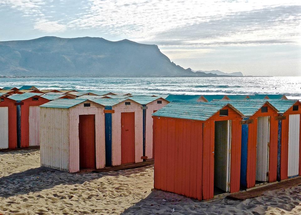 Huts, Beach, Seaside, Colorful, Sicily, Vista, Coast