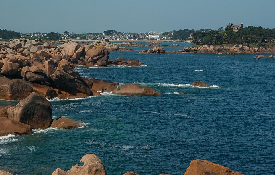 Brittany, Ploumanach, Rocks, Pink Granite, Side