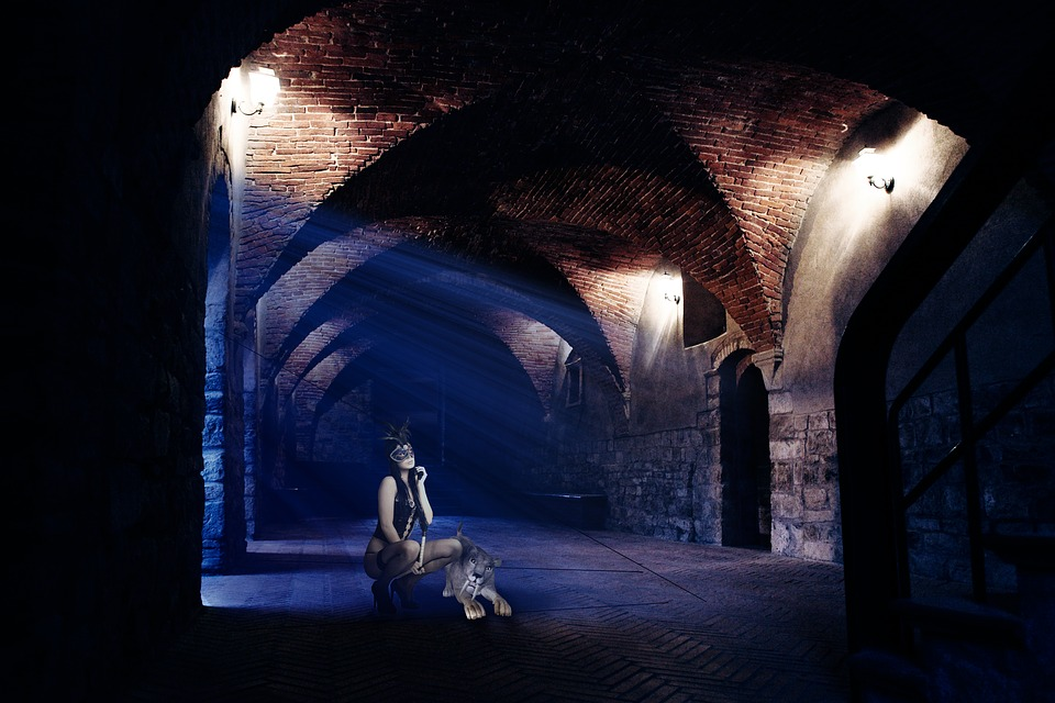 Gothic, Vault, Side Light, Panel, Fashion, Woman, Young
