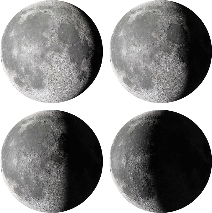Moon, Phase, Night, Cutout, Astronomy, Side, 3d, Day