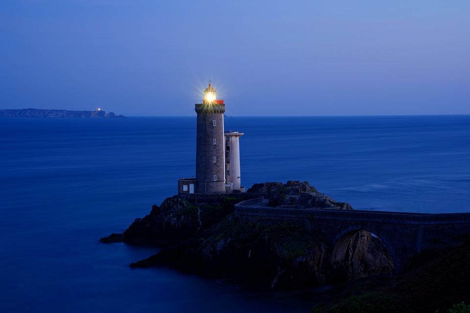 Petit Minou Lighthouse, Lighthouse, Sea, Ocean, Side