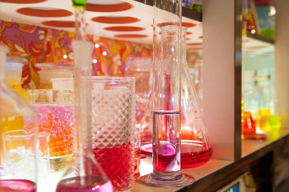 Colorful, Glasses, Vase, Sideboard