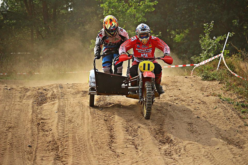 Sidecar, Cross, Enduro, Race, Sand, Dust, Motocross