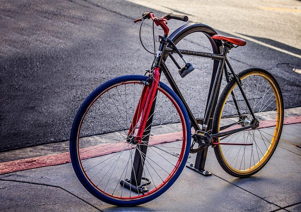 Bike, Bicycle, Sidewalk, Street, Lock, Colorful