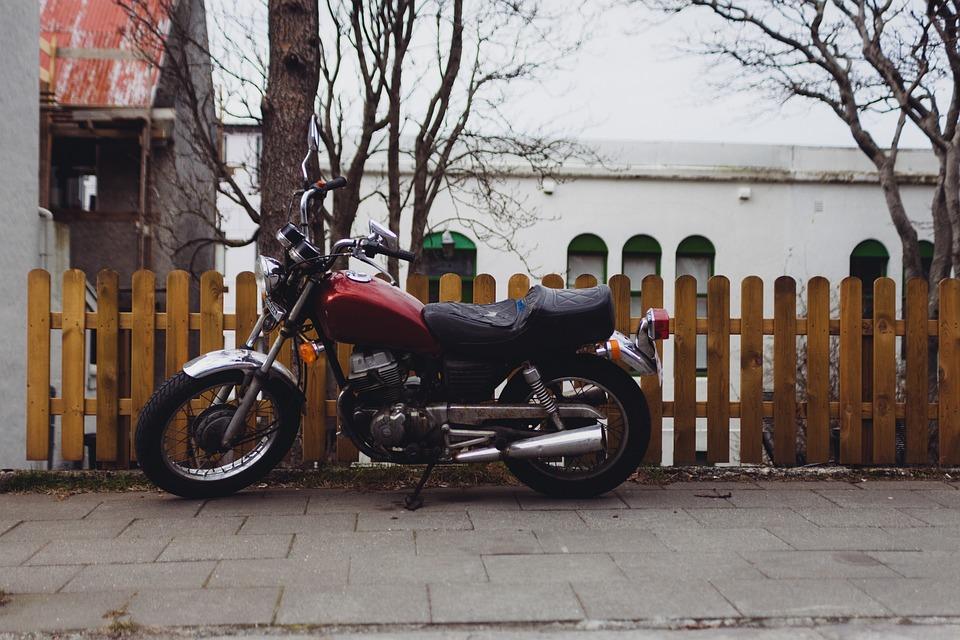 Motorcycle, Motorbike, Picket Fence, Wood, Sidewalk
