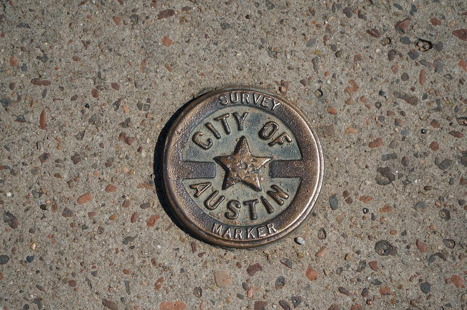 Old, Medal, Survey, Sidewalk, Austin, Texas, Metal
