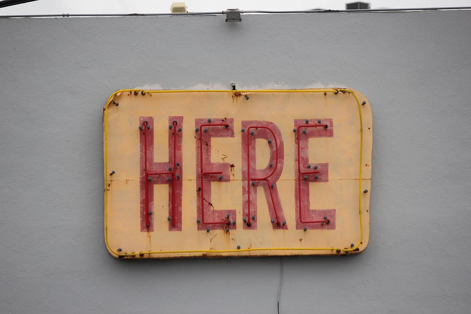Here, Sign, Neon, Direction, Symbol, Street, Red, Wall