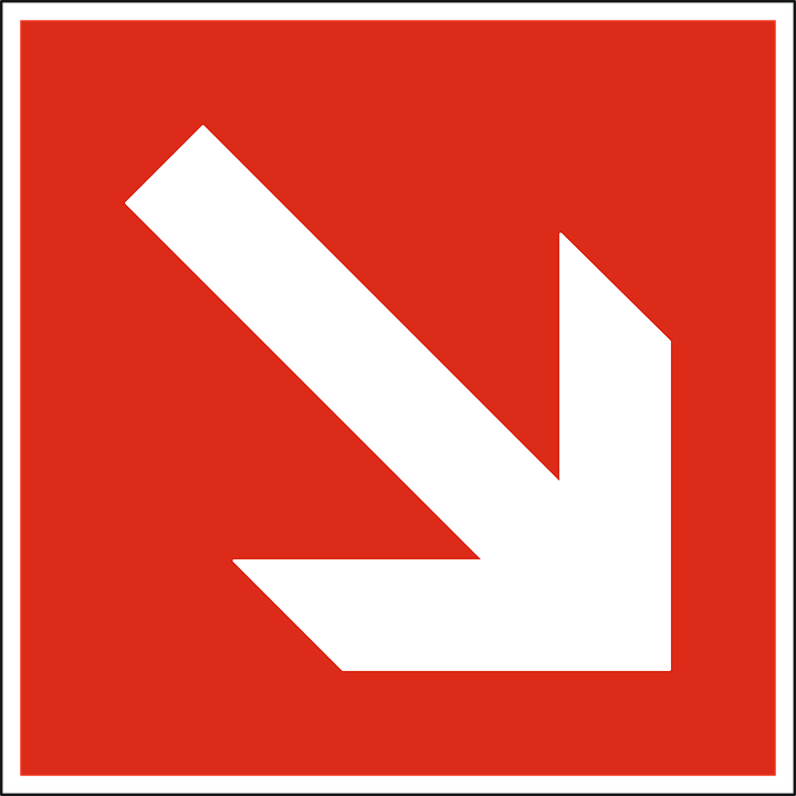 Arrow, Down, Downward, Red, Way, Direction, Sign