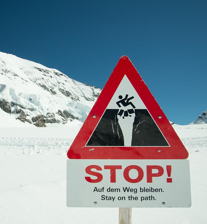 Stop Sign, Sign, Warning, Symbol, Falling, Mountains
