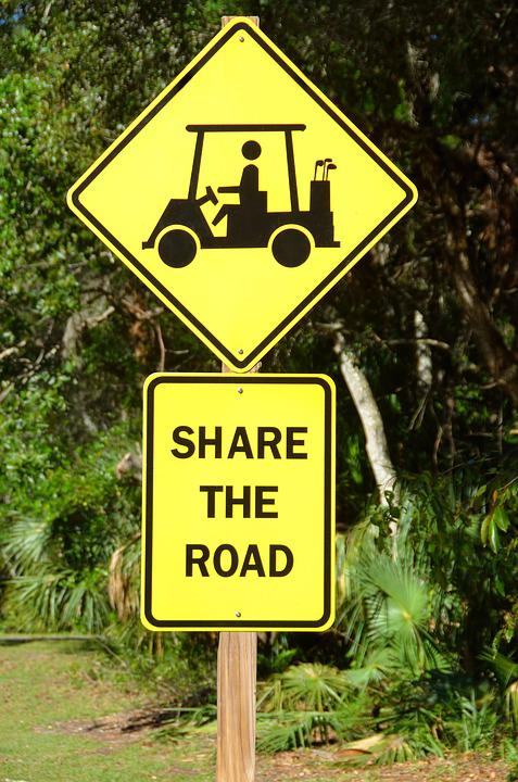 Golf Cart, Crossing, Sign, Share The Road, Golf, Sport