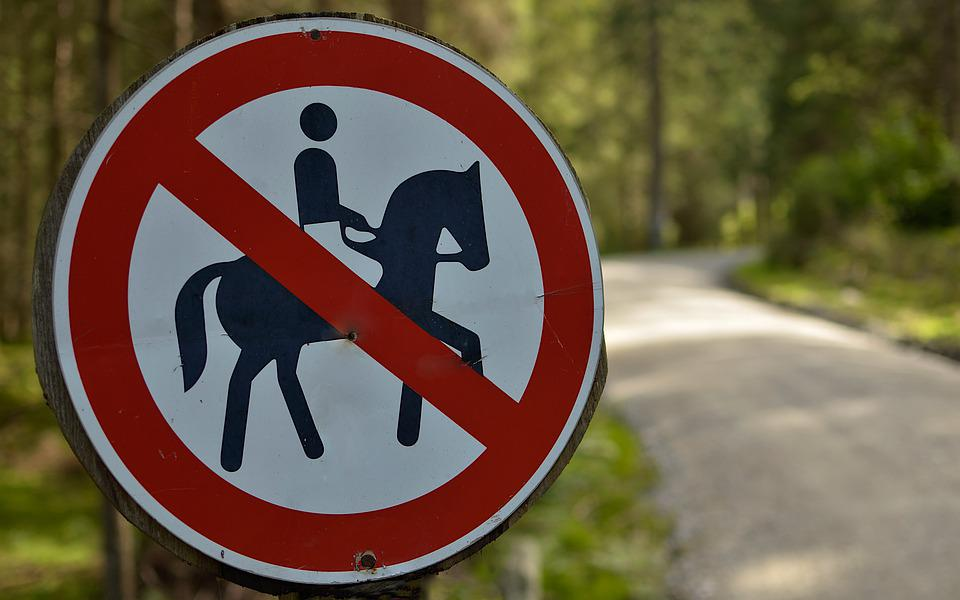Sign, The Prohibition Of, The Horse, Horseback Riding