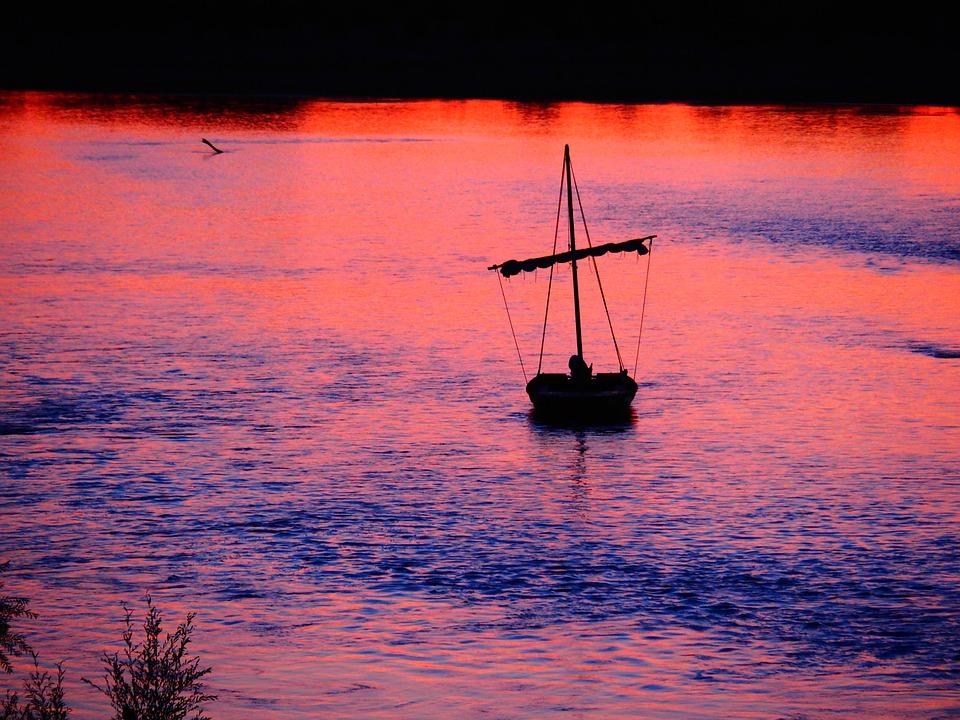 Loire, River, Night, Boat, Cross, Sign, Symbol, Dead