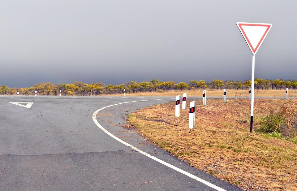 Road, Asphalt, Turn, Sign, Autumn, Nature, Overcast