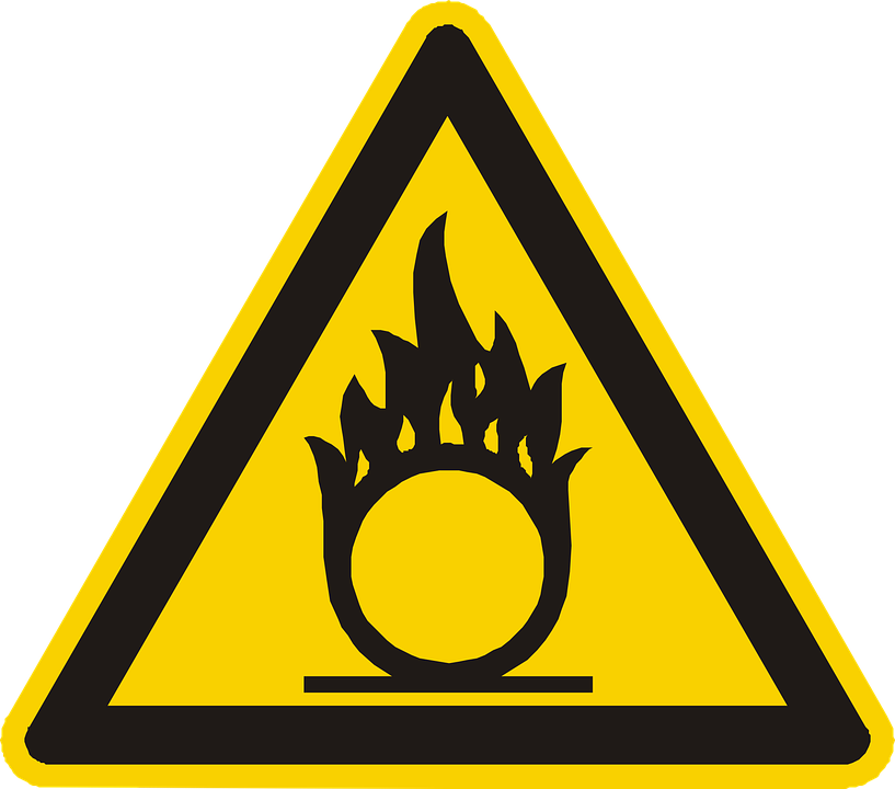 Oxidizing, Oxidant, Warning, Attention, Yellow, Sign