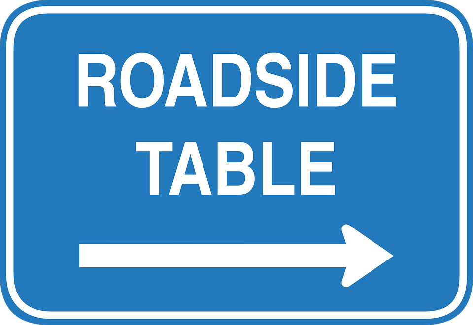 Roadside, Table, Sign, Right, Arrow, Signage